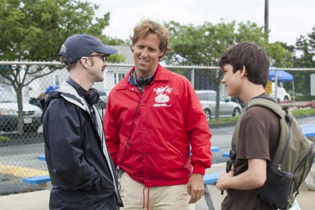 Filmmakers Jim Rash and Nat Faxon with Liam James on the set of THE WAY WAY BACK